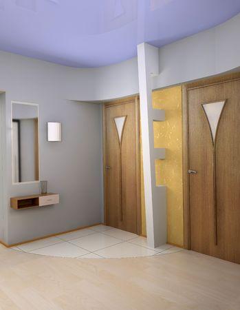 vestibule: modern vestibule interior (3D rendering)