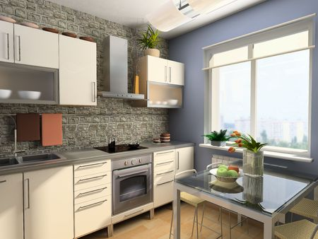 eclecticism: modern kitchen interior (3d computer - generated image)