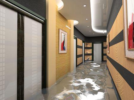 vestibule: the flooding corridor interior (3D image)