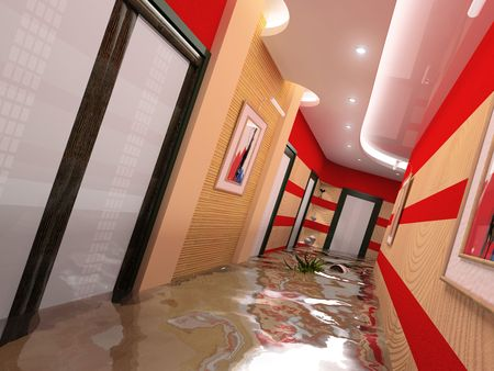render residence: the flooding corridor interior (3D image)