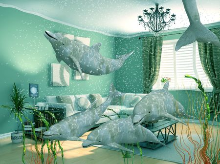 oceanography: group of dolphins swimming in modern interior (3D)