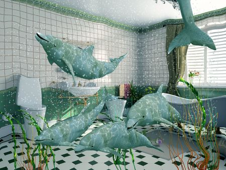 the dolphins in bathroom interior (3D rendering) photo