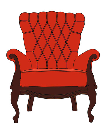 lounge chair: red vintage vector armchair Illustration