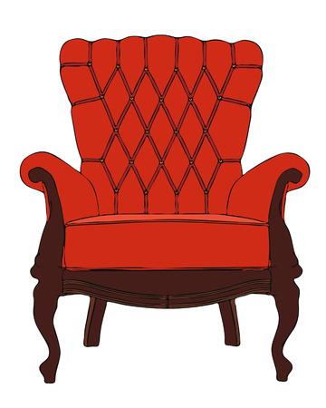 armchair: red vintage vector armchair Illustration