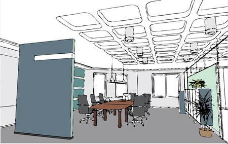 working in office: the vector modern office interior (cartoon style )