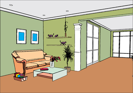 hall: modern open interior (vector) Illustration