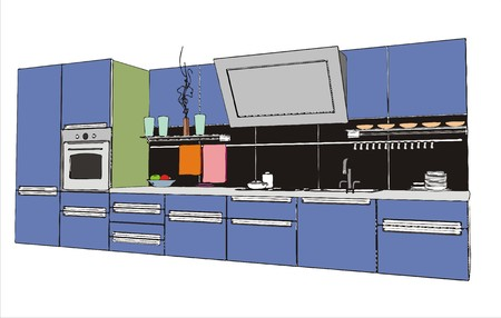 stainless steel kitchen: modern kitchen interior (vector image)