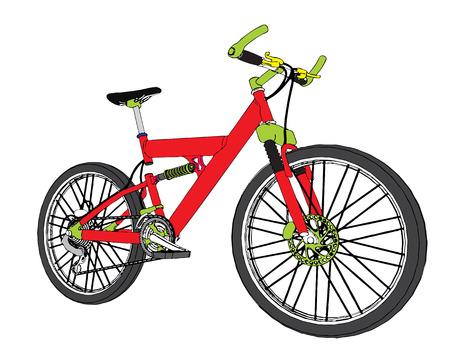 Montage: Vektor-Montage Fahrrad �ber den wei�en Hintergrund