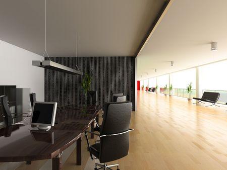 open office: modern open office interior(3D rendering)