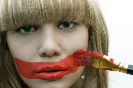 greeneyes: pretty green-eyes girl with brush and red lips