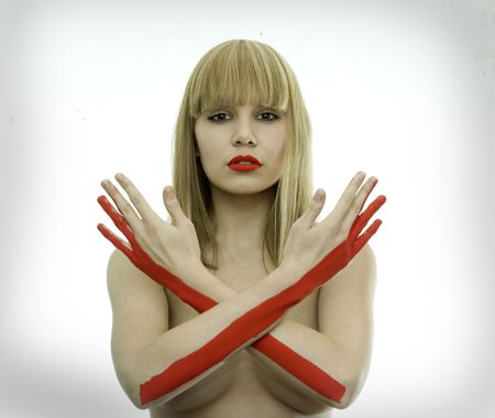 unacceptable: the girl with stop sign hand intersection Stock Photo