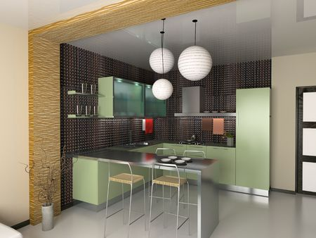 the modern kitchen interior design (3D rendering) Stock Photo - 2587475