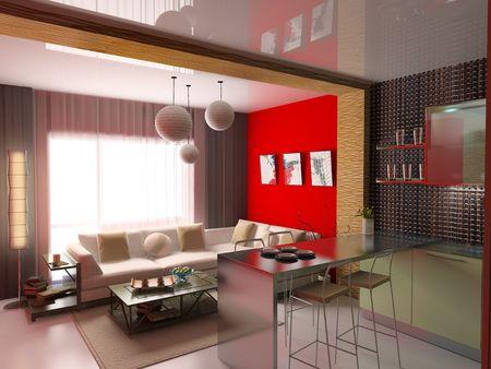 splashback: the modern interior (3D rendering)