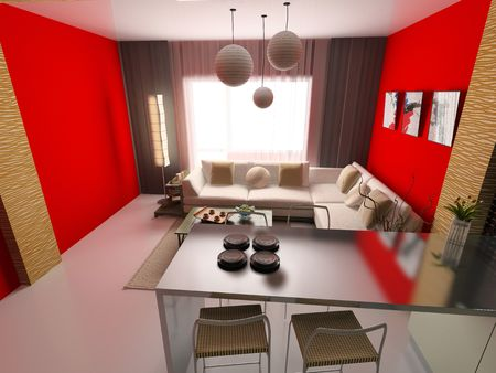 the modern interior (3D rendering) Stock Photo - 2614901