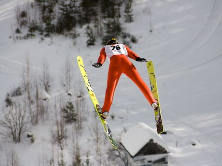 man flying: winter extreme sport photo