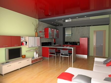 the modern interior (3D rendering) Stock Photo - 2671342