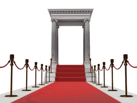 red carpet: majestic red carpet staircase in antique style (3D rendering)