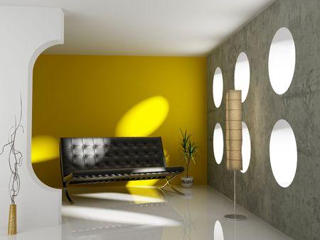 modern interior design (3D rendering)