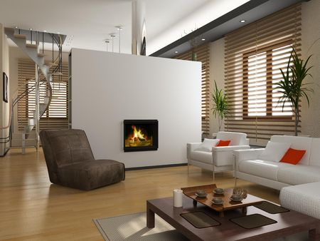 modern private interior (3D rendering) Stock Photo