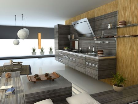 the modern apartment (kitchen detail view) 3D Stock Photo - 3023023