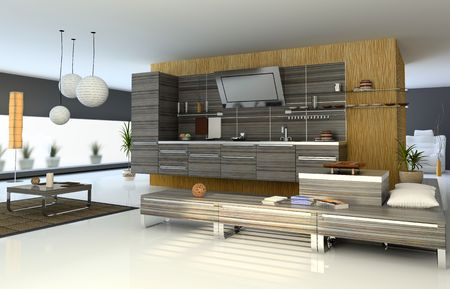 the modern apartment (kitchen detail view) 3D Stock Photo - 3023021
