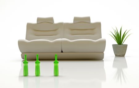 modern interior (relaxation place - sofa) 3D Stock Photo - 3023016