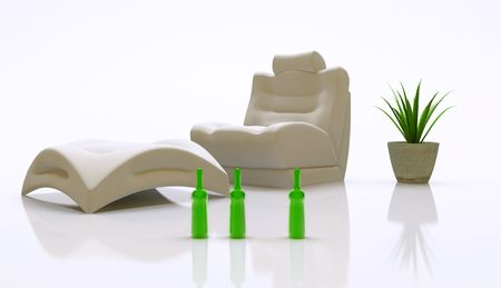 modern interior (relaxation place - sofa) 3D Stock Photo - 3023015