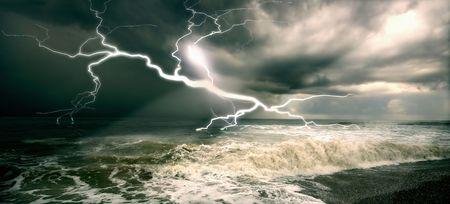 the amazing lighting storm landcscape photo
