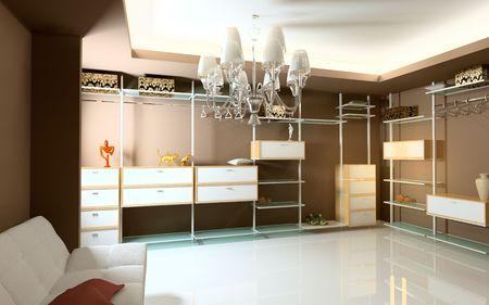 modern wardrobe interior (3D rendering) Stock Photo - 3091779