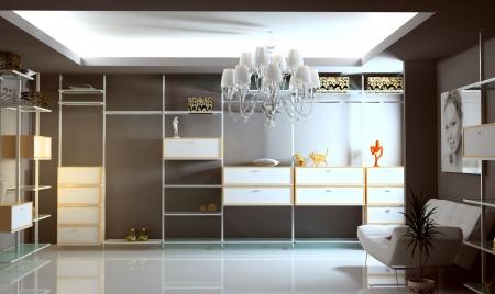 checkroom: modern wardrobe interior (3D rendering)