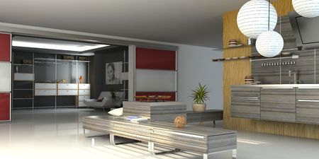 the modern apartment ( 3D) Stock Photo - 3117515