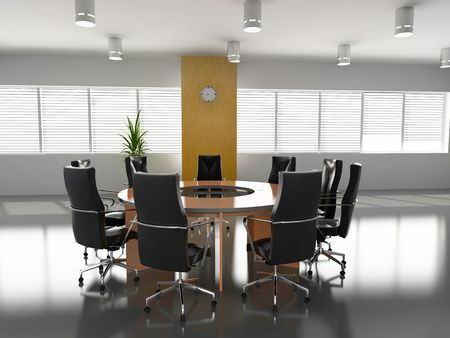 boardroom meeting: concept image of empty boardroom meeting area (3D) Stock Photo
