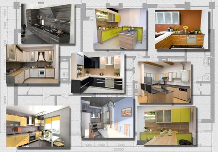 modern kitchen interior image set over architecture plan (3D) Stock Photo