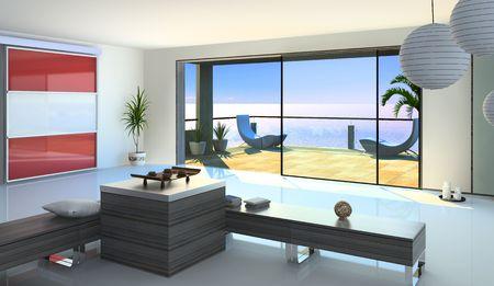 modern open interior (3D rendering) Stock Photo - 3149128