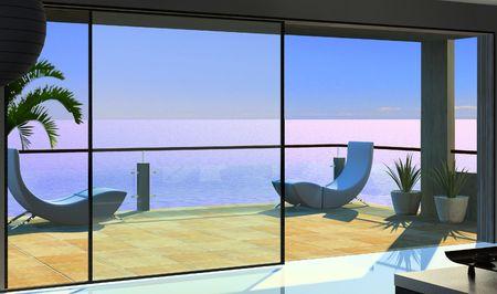 view through: modern open interior (3D rendering)