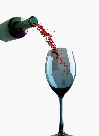 Bottle, wine and  glass (3D rendering) Stock Photo - 3149122