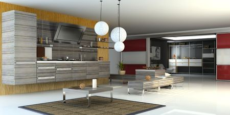 checkroom: the modern apartment ( 3D) Stock Photo