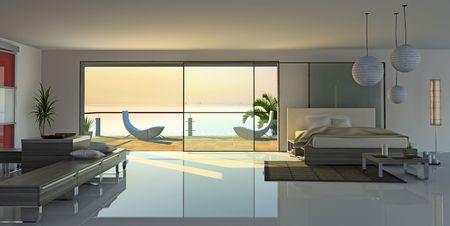 modern open interior (3D rendering)
