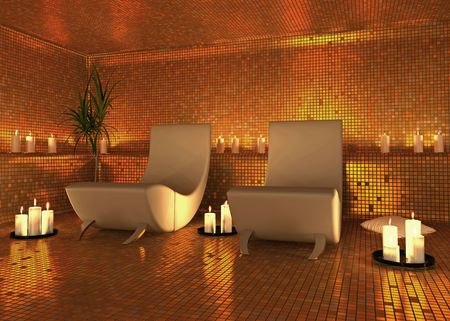 candles spa: spa modern interior (3D rendering)