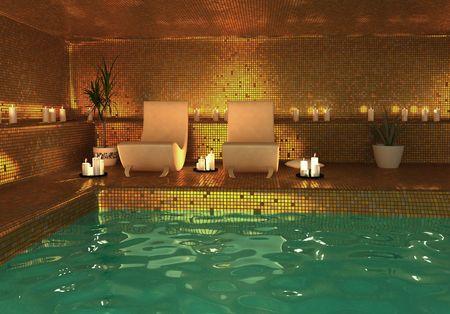 towel  spa  bathroom: spa modern interior (3D rendering)