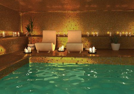 spa bath: spa modern interior (3D rendering)