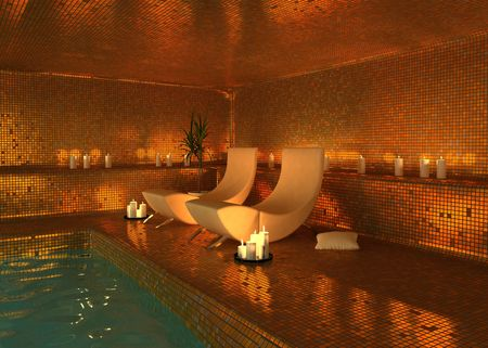 swimming candles: spa modern interior (3D rendering)