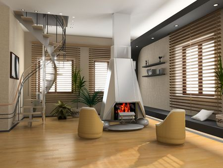 blinds: the modern interior design with fireplace (3D) Stock Photo