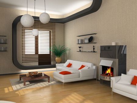 atmosphere: the modern interior design with fireplace (3D) Stock Photo