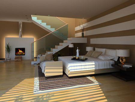 modern bedroom interior (3D rendeing)