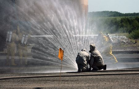 act of god: fire and firefighter  rescue photo Stock Photo