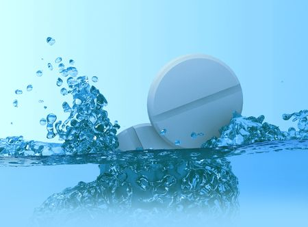 pharma: Falling tablets in cold water (3D) Stock Photo