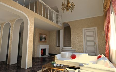 modern luxury hall (3D rendering ) photo