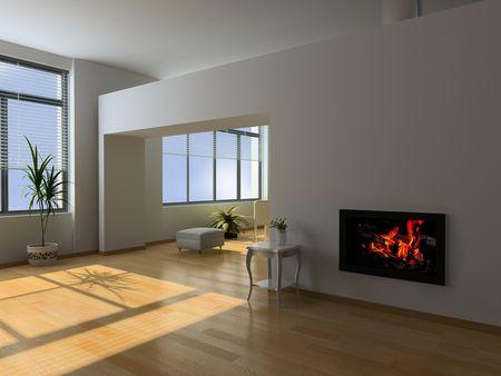 eclecticism: modern interior (3D rendering)
