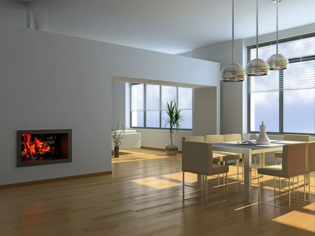 spacious: modern interior (3D rendering)